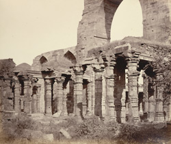The Kootub [Delhi]. Part of the Temple-mosque and its Mahometan facade.